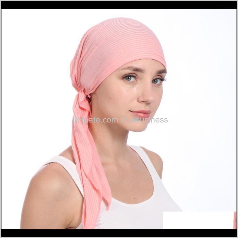 new elastic cotton solid color wrap head scarf hats muslim turban bonnet for women inner hat fashion female turbantes caps1
