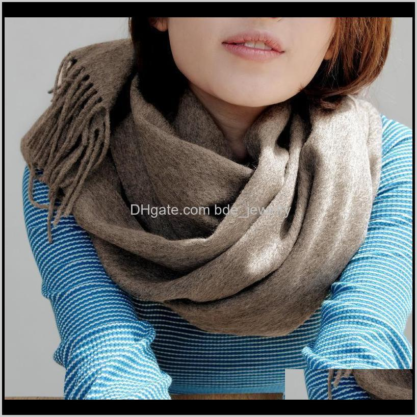 fall / winter 2021 style cashmere women`s scarf solid color wool couple warm and thick fashion tassel pure shawl scarves