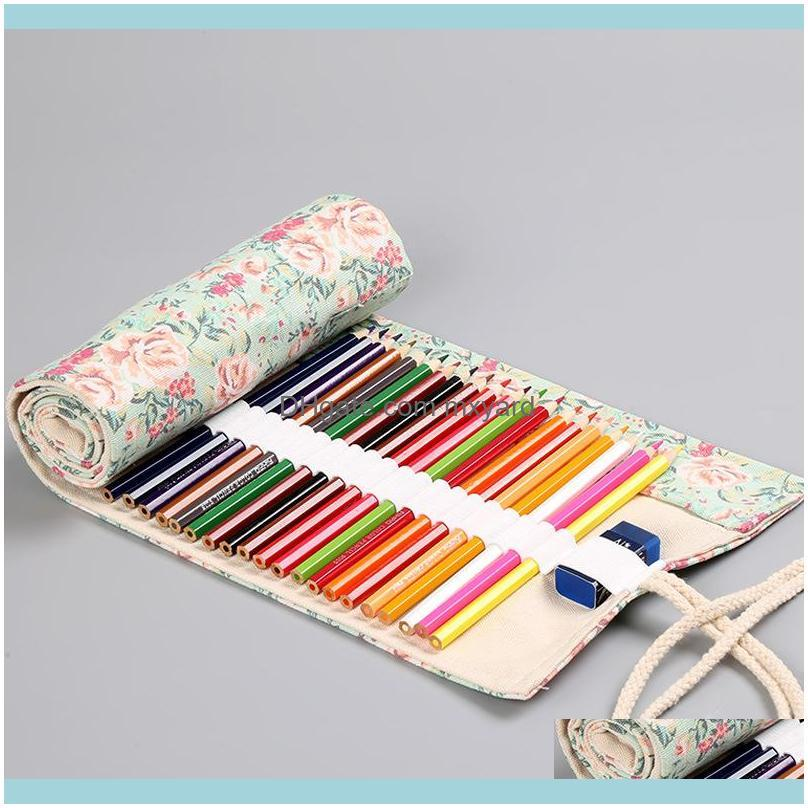 Floral Print 12/24/36/48/72 Holes Canvas Roll Up Makeup Pencil Bag Wrap Curtain Cute Pencil Case Holder Storage Pouch Stationery
