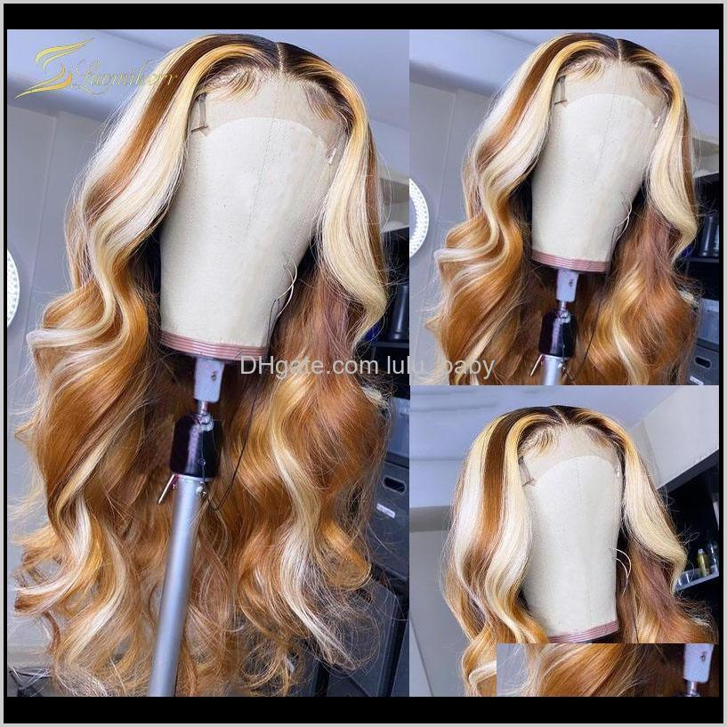 honey blonde hd transparent highlight lace frontal wig ombre 13x6 body wave human hair wig for black women brown full front lace