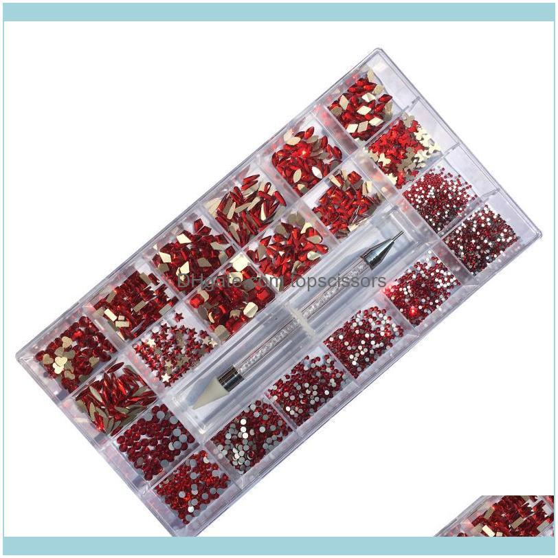 Nail Glitter 1/box Art Rhinestones+1pc Wax Pen Picker Crystal Gold/Red/AB Set Multicolor Flatback Strass Charms Decorations