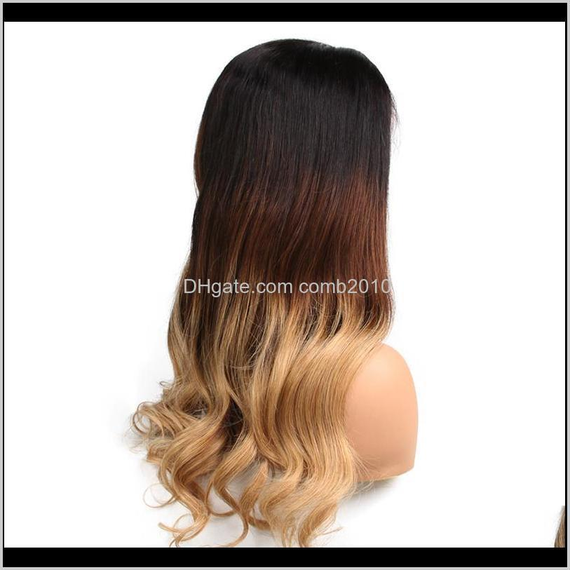 lin man lace front wig human hair remy peruvian wavy hair 130% density ombre color 3t 1b/4/27 human hair wig