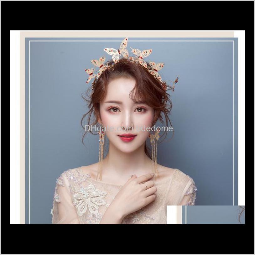 bride headdress crown hair hoop marriage hair ornament earrings suit wedding garment accessories