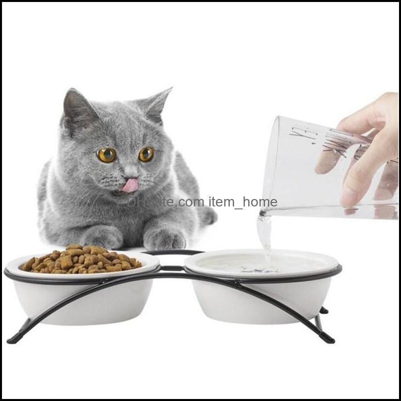 Dog Bowls & Feeders Cat Bowl Ceramic Neck Protection Iron Shelf Orthopedic For Feeding Food Water With Stand Cats Pet Feeder