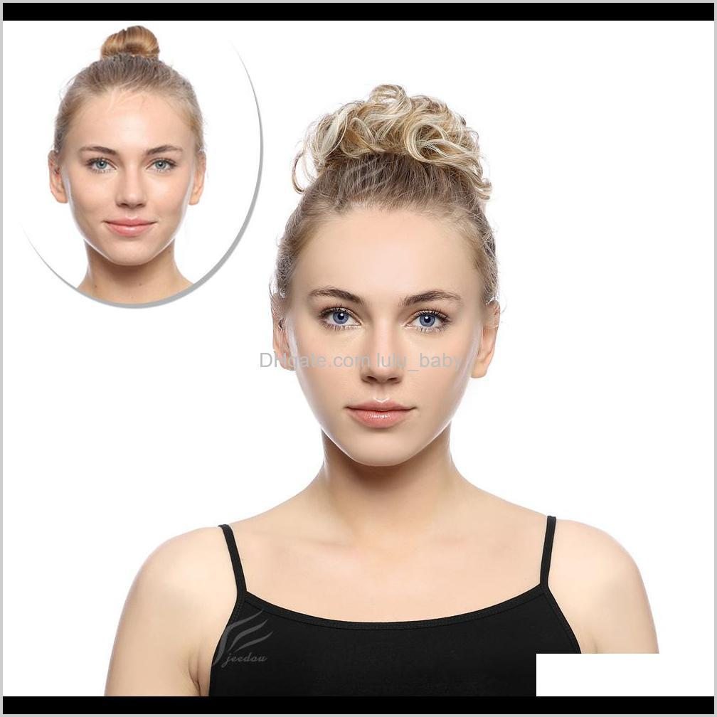 elastic chignon hairpiece curly messy bun mix gray natural chignon synthetic hair extension chic and trendy
