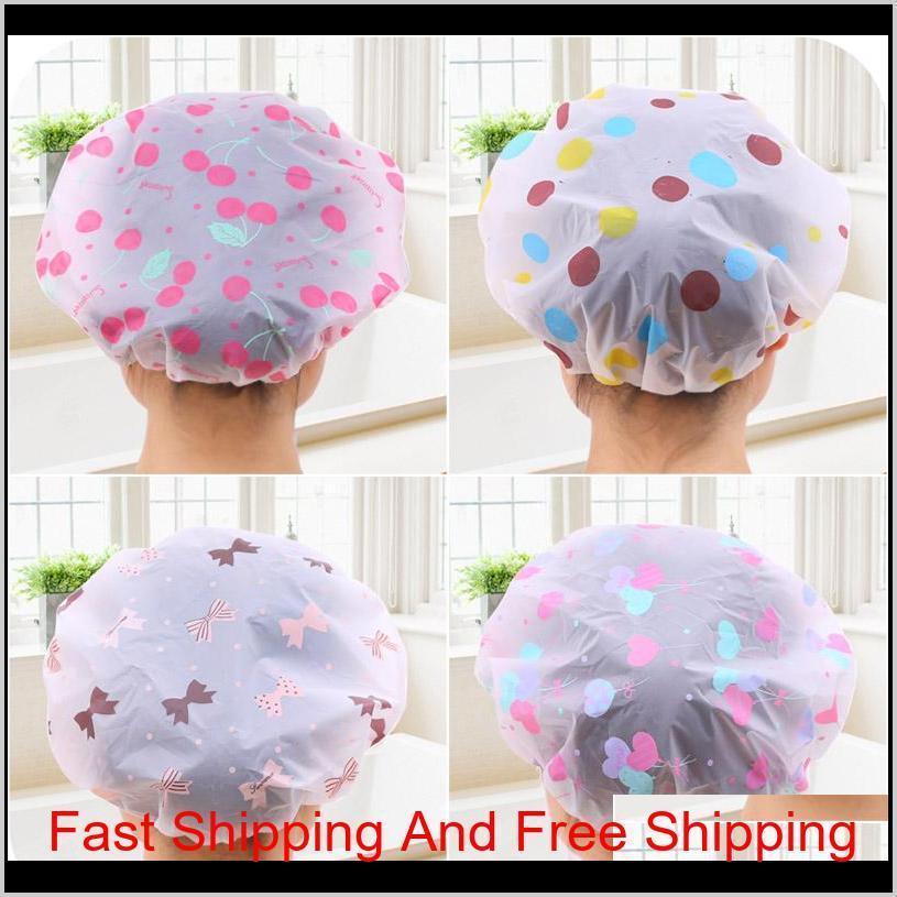 korean style cute cartoon waterproof bathing cap adult suit long hair plastic shower cap for adult female