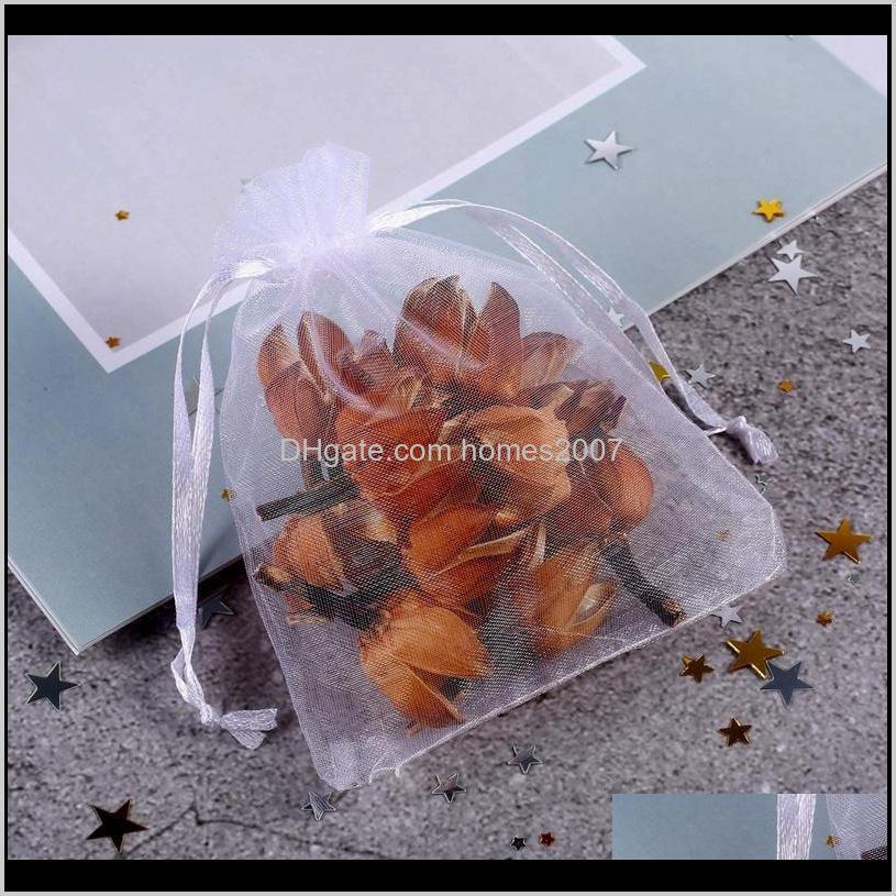 package200pcs white organza bags, 4 x 6 inches christmas wedding favors gift drawstring bags jewelry pouches storage