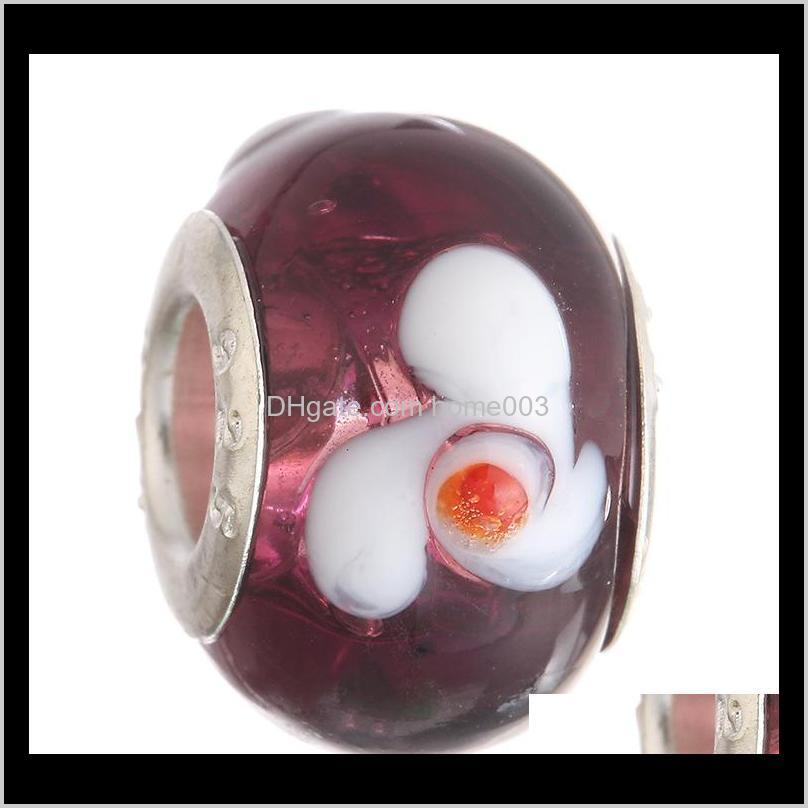 2015 new glass beads charms pretty european murano glass biagi large big hole rroll beads fit for charm bracelets&necklace mix color