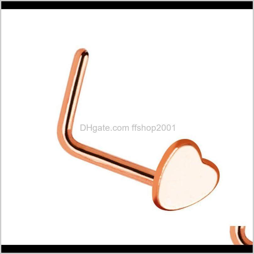 women men stainless steel nose studs rings l shaped infinity love moon heart nose septum piercing body jewelry