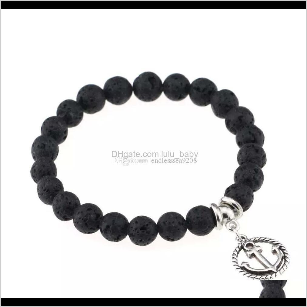 natural stone bangle volcanic lava rock pendant women bracelet prayer bead bracelet agate diffuser jewelry