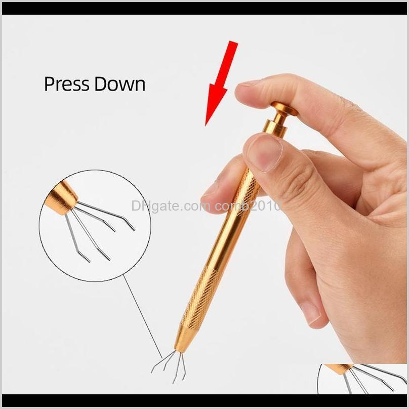 microblading 4 prongs bead holder pick up tool jewelry bead grasping tool golden alloy high precision body tattoo piercing tool 0558