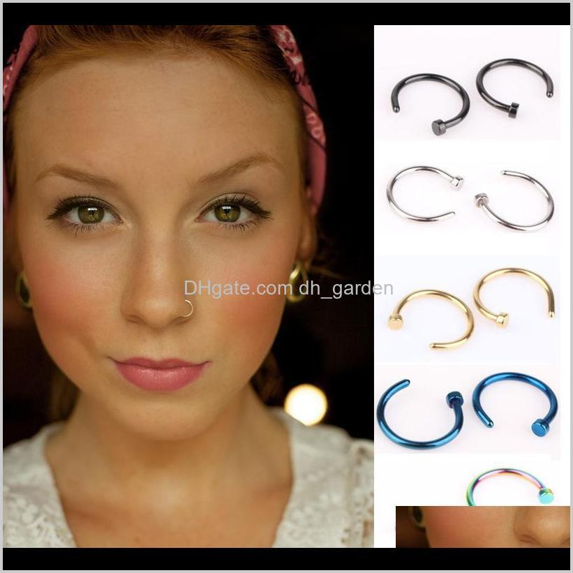 nose rings body art piercing jewelry fashion jewelry stainless steel nose open hoop ring earring studs fake nose ring non piercing