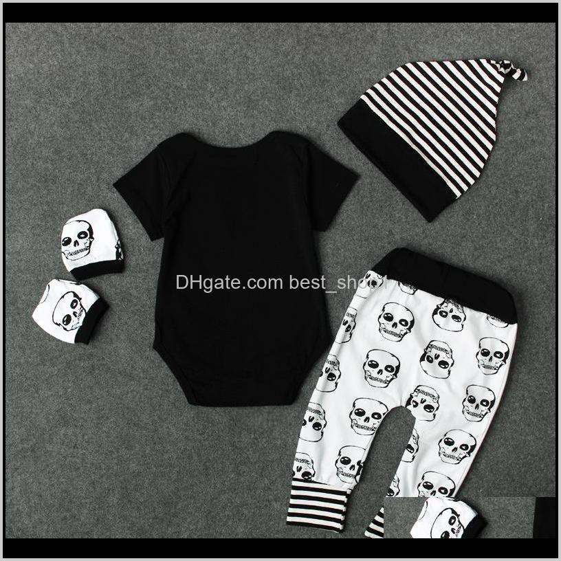 newest autumn halloween skull baby clothes newborn set infant boys girls romper jumpsuit tops leggings pants hat outfits 4pcs 0-24m