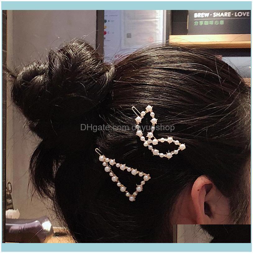 New Elegant Pearl Geometric Metal Hair Clip for Women Star Crown Barrette Korean Hair Styling Stick Tool Girl Hairpins