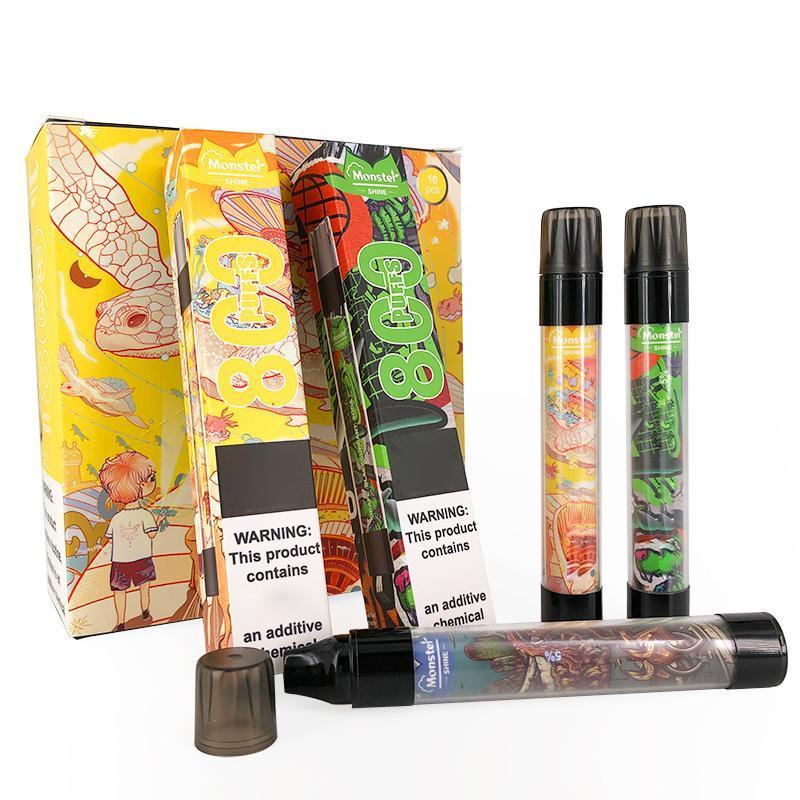 Mostro Monouso Monouso i Penna Vape Pen e dispositivo di sigaretta con luce a LED luminosa 550mAh Batteria 3ML Pod cartuccia precompillata 800 puffs kit di vaschette