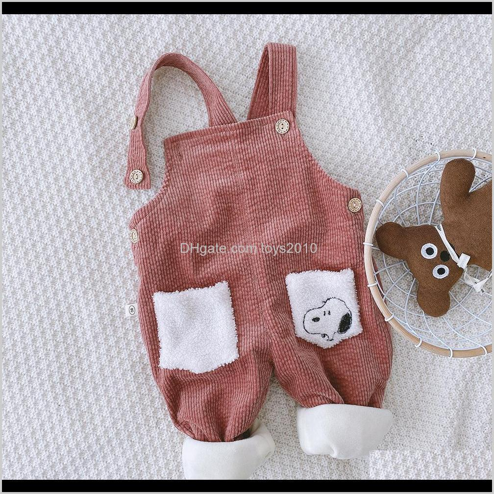 baby kids corduroy suspender pants plus fleece winter 2020 kids boutique clothing korean 1-4t little boys girls solid color warm
