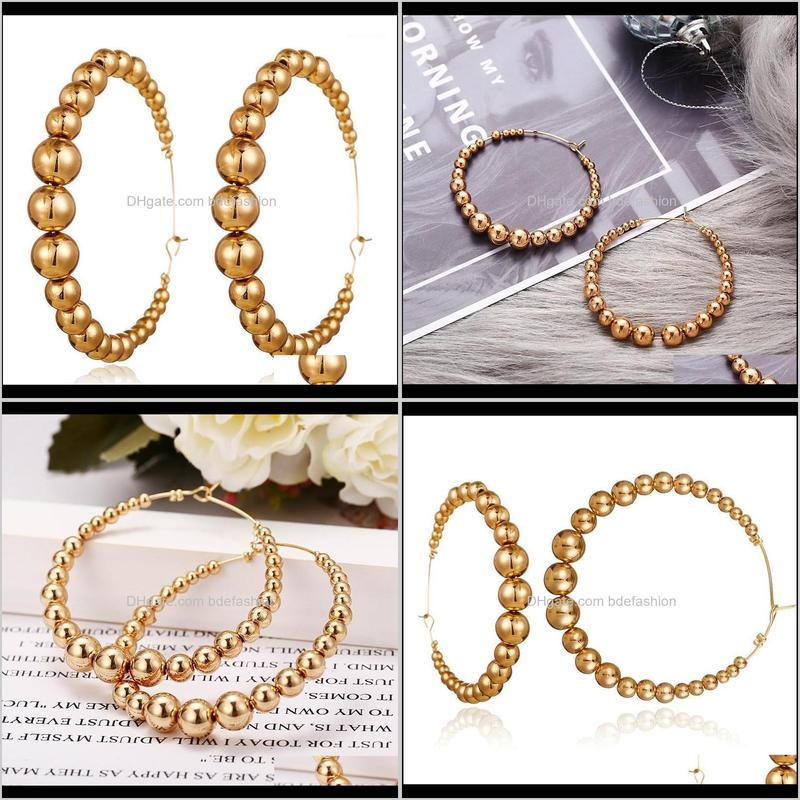 new vintage hoop earrings letter open ear hoops exaggerated big round circle small big beads female ear accessories1