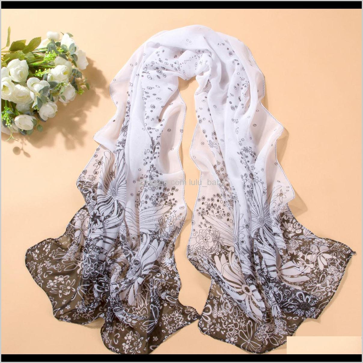 2016 new scarf summer pashmina women`s scarf long shawl printed cape silk chiffon tippet muffler echarpes scarves dht155