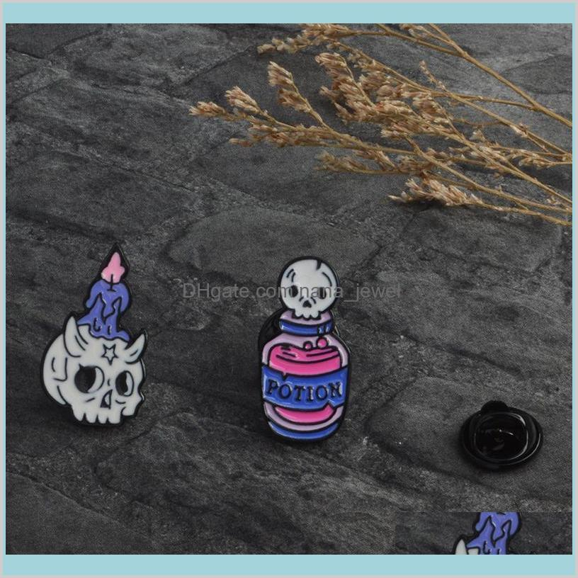 potion skeleton and candle skeleton brooch