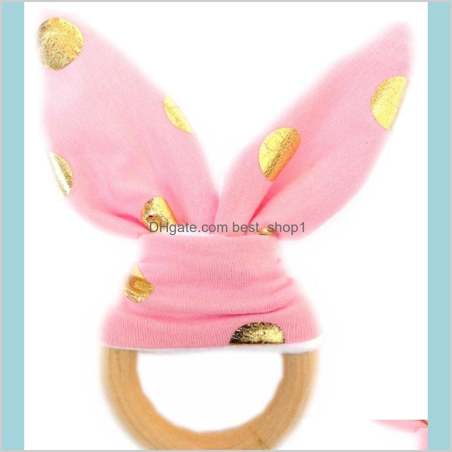 bunny ear teether wooden teething ring