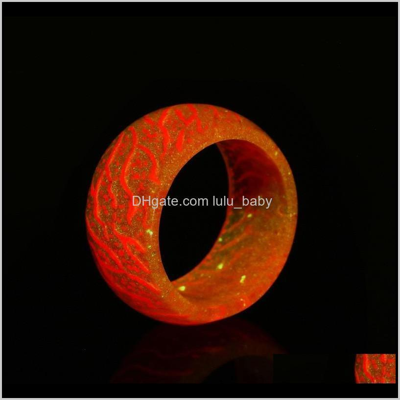 new style luminous flower pattern ring simple resin glow in dark ring for kids party gifts 5 colors for choose