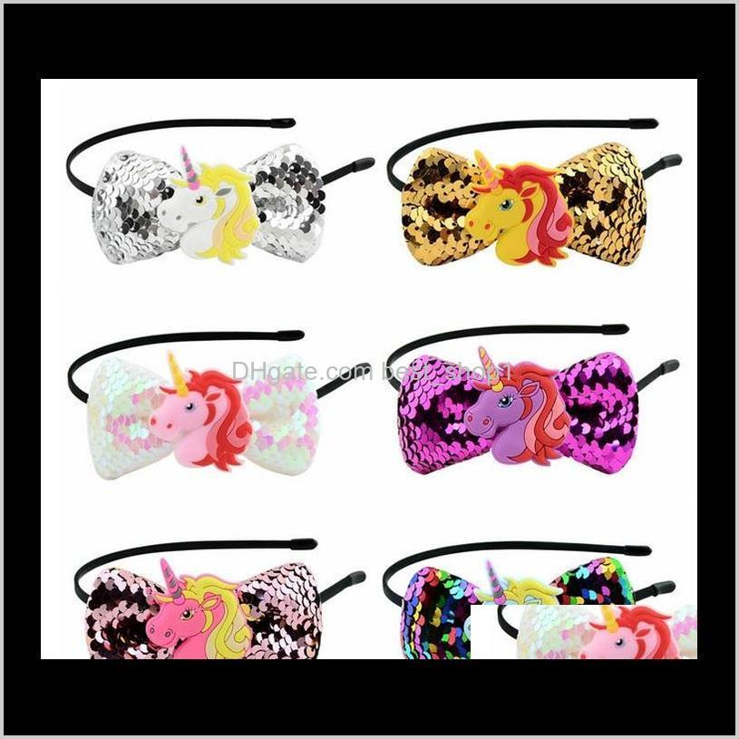3.5 inch unicorn sequins hairband glitter hair clasp sticker bow with party halloween cosplay christmas hair accessories 871