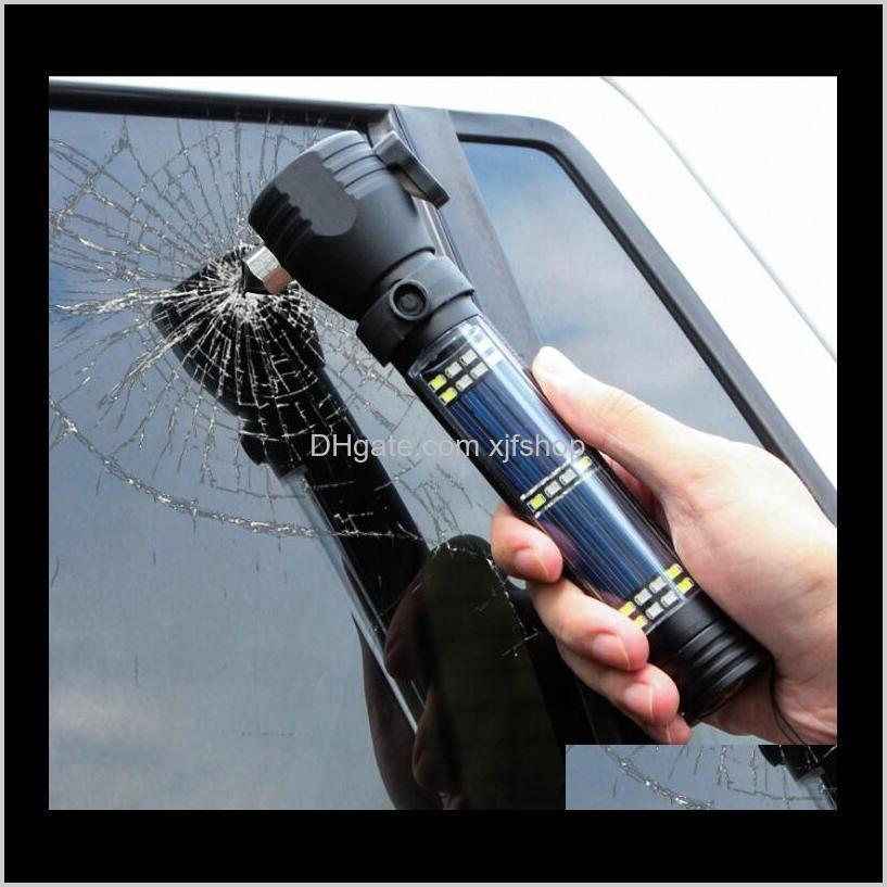 solar rechargeable flashlight led lamp outdoor multi-functional broken window hammer mobile phone charging alarm rescue usb car