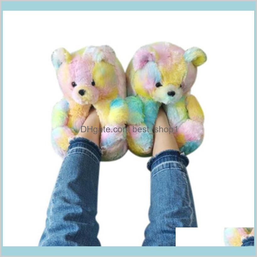 plush teddy bear house slippers brown
