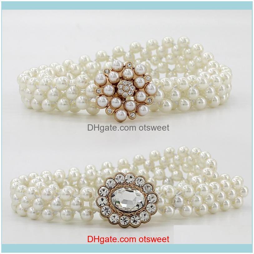 Belts Rhinestone For Women Pearl Belt Thin Waist Elastic Buckle Chain Female Girls Dress Strap Wedding Decor