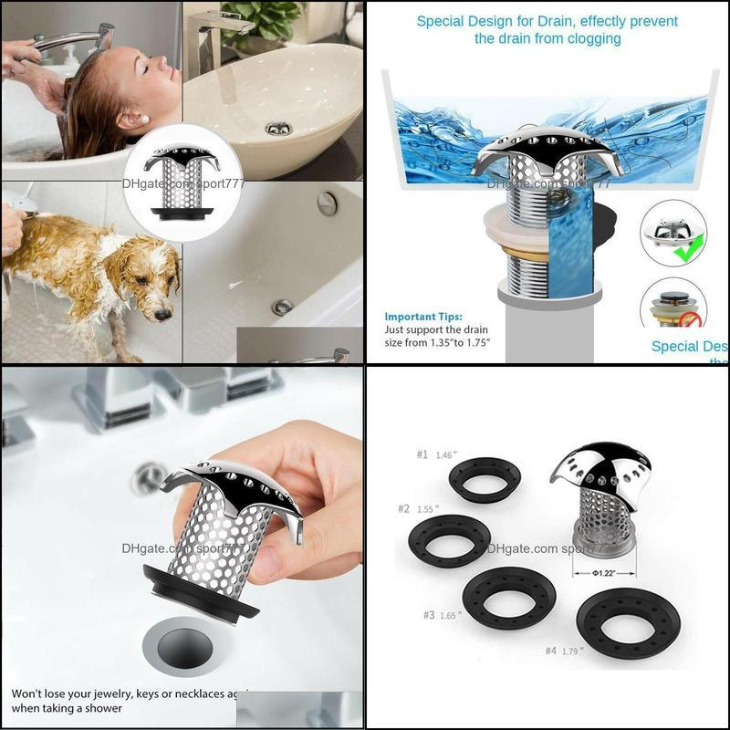 Kitchen Faucets Bath Tub Floor Drain Stopper With 4 Rubbers Steel Protector Strainer Tool Hair Catcher Water Laundry A6S6