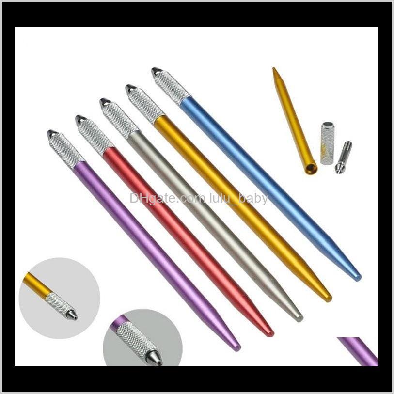 100pcs semi-permanent makeup pen 3d embroidery makeup manual tool tattoo eyebrow microblade pen 5 colors