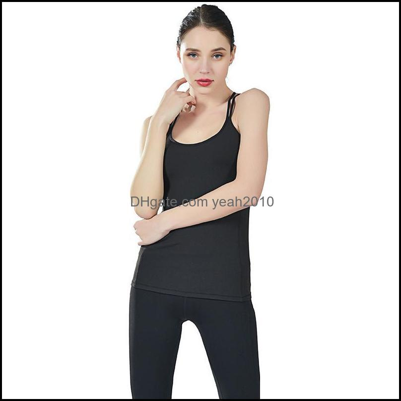 Yoga Outfits Women Shirts Fitness Sleeveless Breathabless Sportwear Front Line Cross Gym Loose Clothes Running Quick-dry T-shirts1
