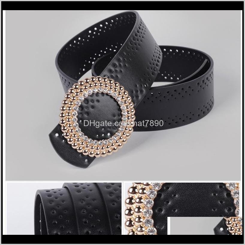 Vintage round buckle diamond hollow belt ladies decorative pin buckle girdle simple wild belt belts for women korean