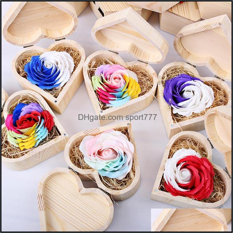 Party Masks Novel And Funny Toy Wooden Box Soap Flower Eternal Rose Wedding Decoration Gift For Company Activities Or Graduation