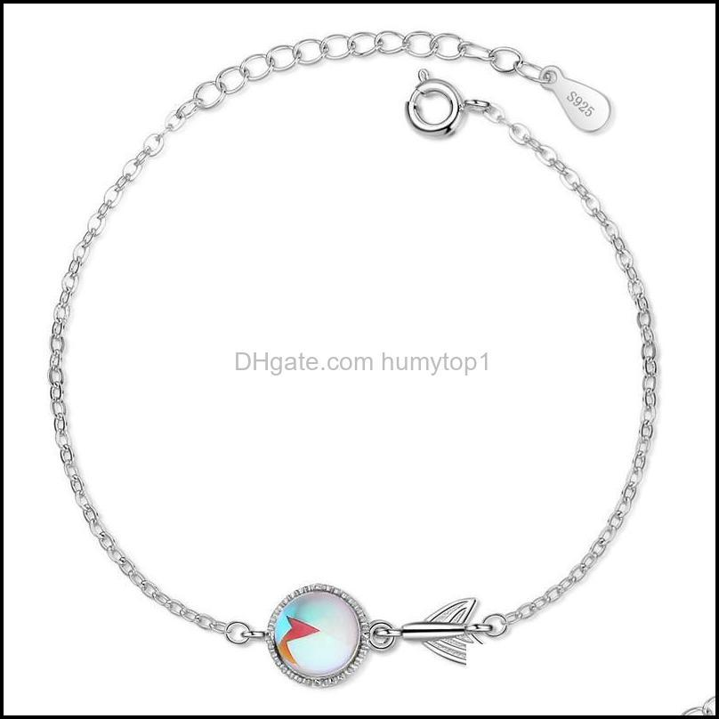 Korean Style Simple Blue Round Bead Fishtail Bracelet Charming Women Silver Color Valentine`s Day Gifts Chains