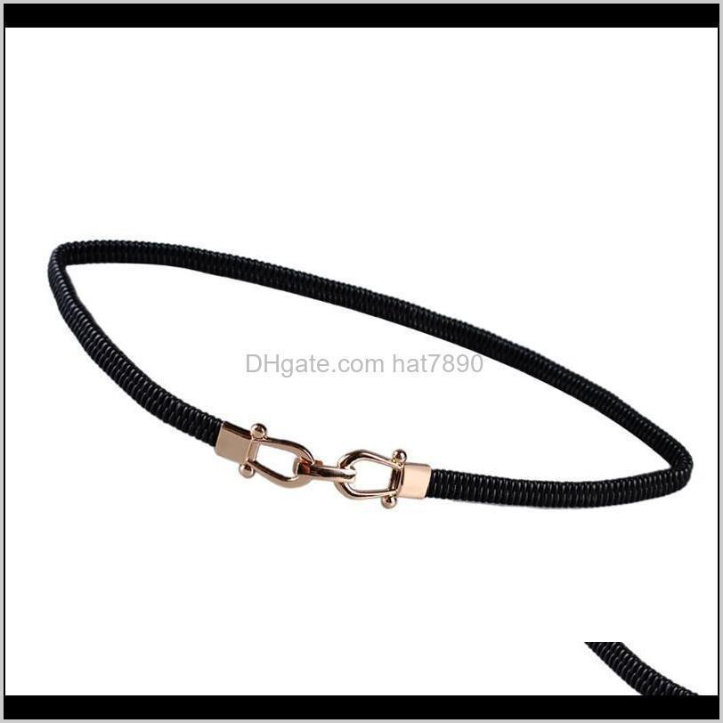 Thin Narrow Waistband Elastic Stretch Waist Belts Ornament