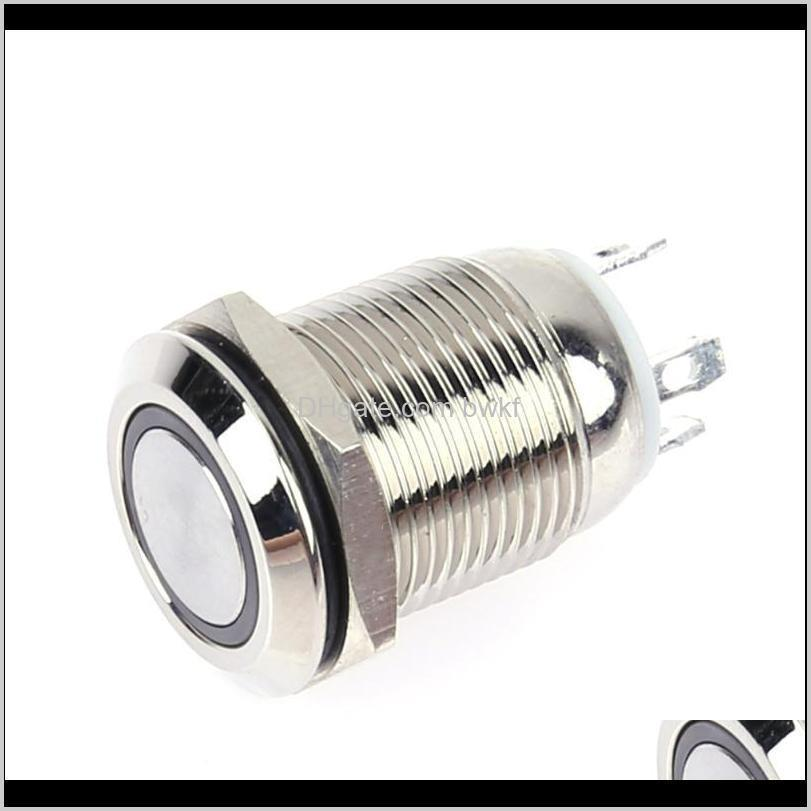 12mm 3v red/blue led light metal push button switches stainless steel waterproof push button momentary switch reset type locking