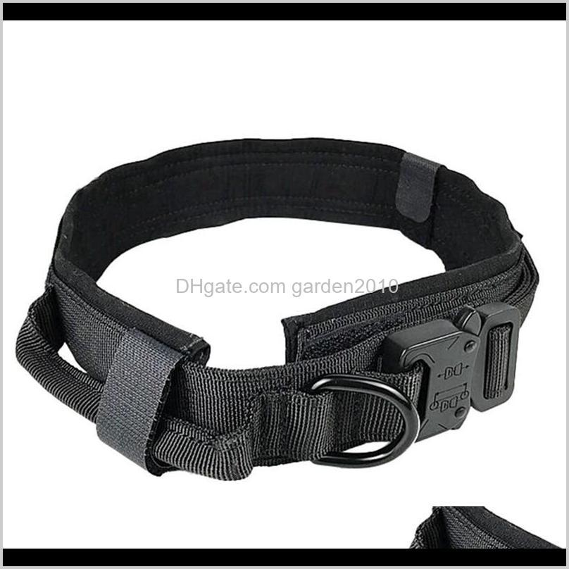 Adjustable Nylon Dog Collar Tactical Dog Collar Metal Buckle With Control Handle Vest For Training