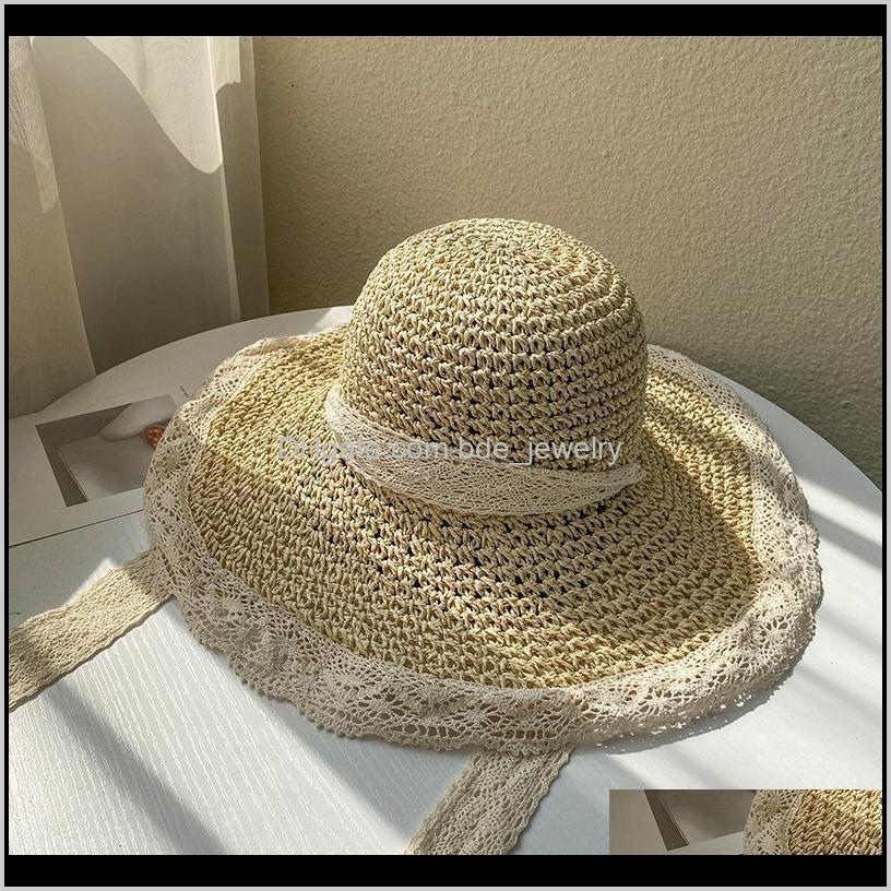 hat female straw korean style tide summer thin section breathable lace hollow small fresh windproof rope beach hats women wide brim