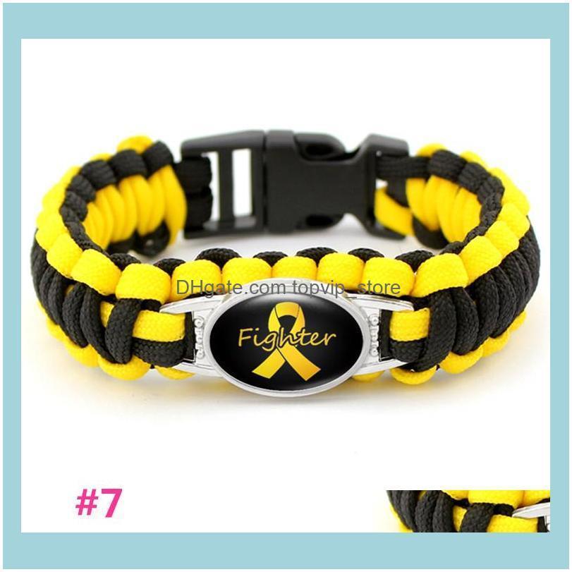 Breast Cancer Fighter Paracord Wristband Survival Bracelets Hope Ribbon Custom Made Camping Customized Logo Length Bracelet