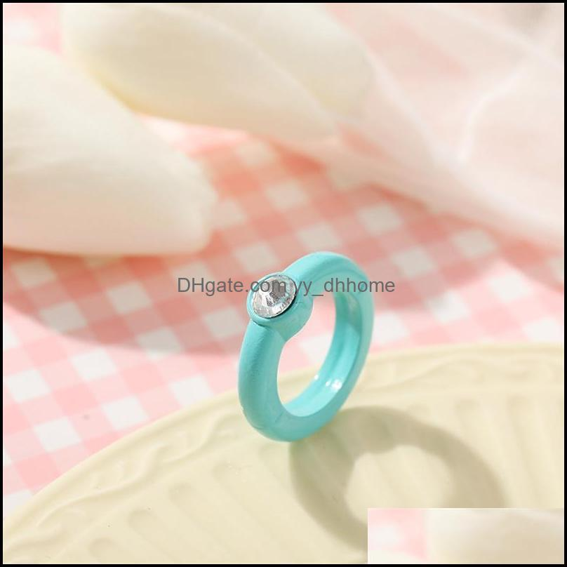 Cluster Rings IF ME Aethetic Jelly Candy Colorful Crystal Transparent Resin Acrylic For Women Girl Korean Trendy Ring Jewelry 2021