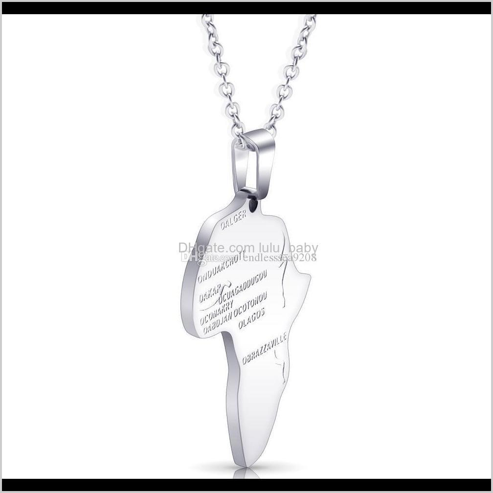 hip hop africa necklace stainless steel irregular african maps pendant gold silver chain for men & women ethiopian jewelry