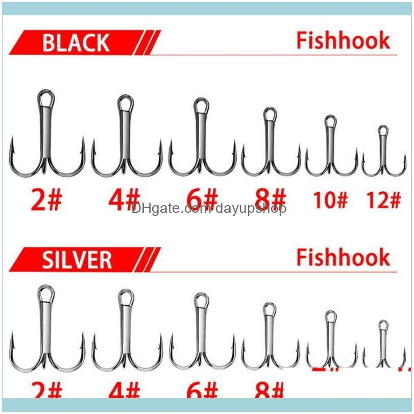 50PCs/Lot Treble Fishing Hooks Stainless Steel 2/4/6/8/10/12# Anchor Angling Fishhook Sea Saltwater River Bass Trout Carp Hook
