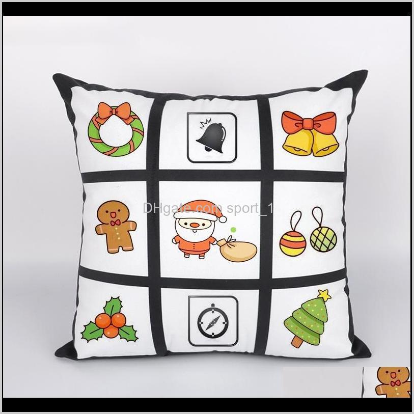 9 panel pillow cover blank sublimation pillow case black grid woven polyester heat transfer cushion cover throw sofa pillowcases