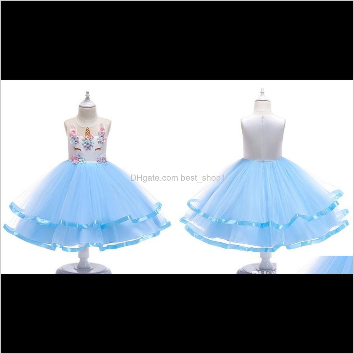 halloween baby girls unicorn cosplay dress embroidery flower children ballgown kids costume tutu skirts fast shipping
