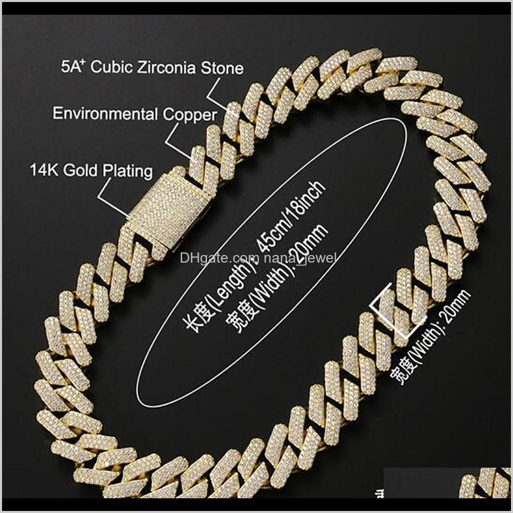20mm diamond miami prong cuban link chain choker necklace &bracelets 14k white gold iced icy cubic zirconia jewelry 7inch-24inch cuban