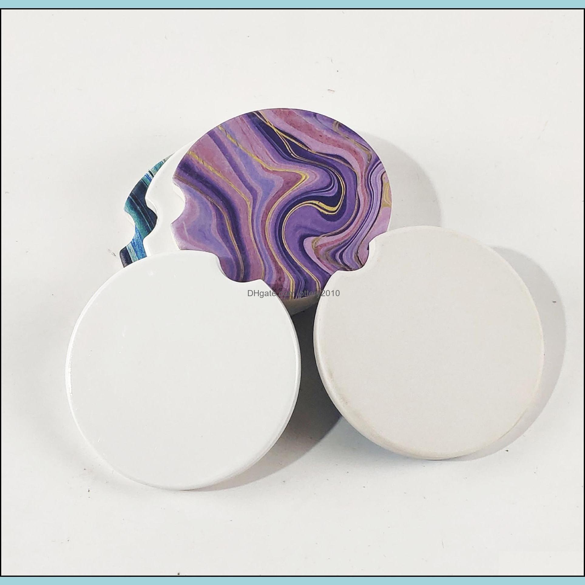 6.6*6.6cm Sublimation Blank Car Ceramics Coasters Cup Mats ZZA3322