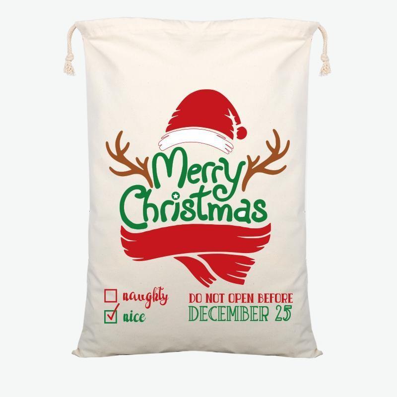 Sac-cadeau de Noël Sac à cordon de coton Santa Coton Sac de bonbons Sac de bonbons grandes Enfants Jouet Decoration