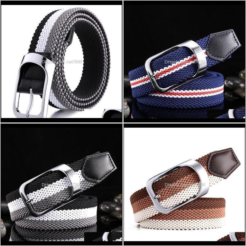 Unisex High Canvas Quality Belt Weave Stripe Metal Alloy Pin Buckle Female Belts Fashion Breathable Men/women Casual Waist Belt