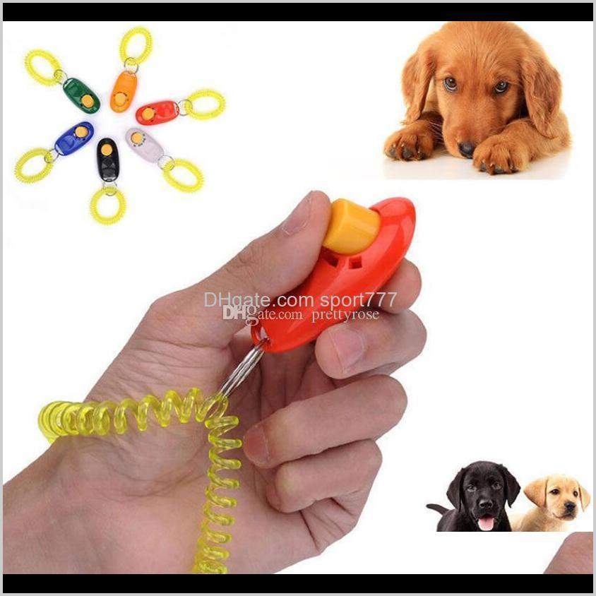 pet dog training whistle click clicker agility training trainer aid wrist lanyard dog training obedience supplies mixed colors